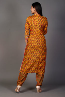 Printed Kurti with Dori, Sequins, Thread work.