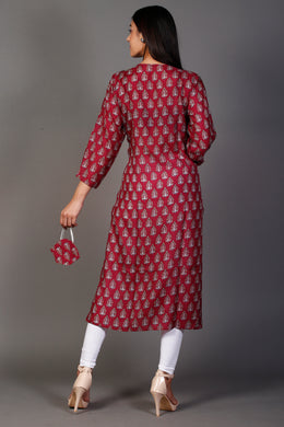 Cotton Silk Printed Kurti with Mirror, Thread work.