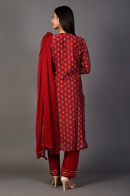 Printed Suit with Gota Patti work.