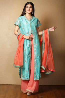 Suit in Light Blue color with Gota Patti, Pearl, Zardozi work.
