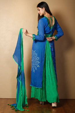 Bandhej Suit in Dark Blue color with Mirror, Thread work.