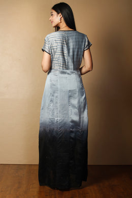 Printed Chanderi Suit in Grey color with Swarovski work.
