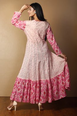 Printed Kurti in Pink color with Gota Patti work.