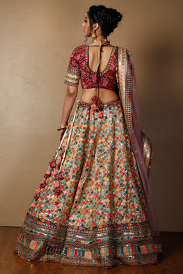 Raw silk  Lehenga in Gold color with Dori & Thread work.