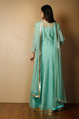 Suit in LightBlue color with Dori, Gota Patti, Zardozi work.