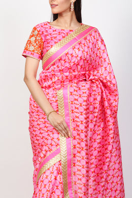 Raw Silk Printed Saree with Zardozi work.