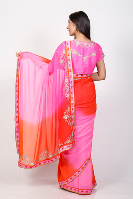Georgette Printed Saree with Zardozi work.