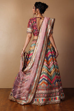 Raw silk Lehenga in Pink color with Dori, Sequins, Thread work.