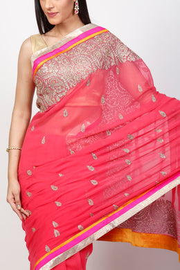 Georgette Saree with Cutdana, Pittan work.