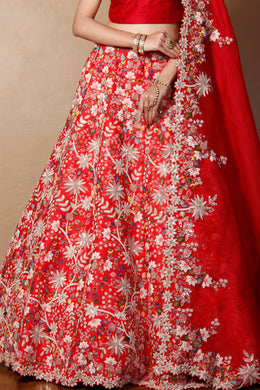 Raw silk Lehenga in Red color with Sequins, Thread, Zardozi work.