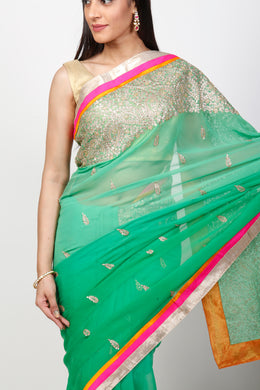 Georgette Saree with Pittan, Sequins work.