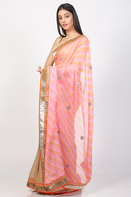 Georgette Leheriya Saree with Gota Patti work.