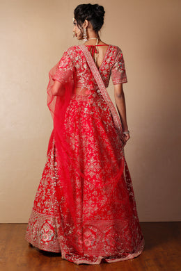 Raw silk Lehenga in Red color with Pearl, Sequins, Thread, Zardozi work.