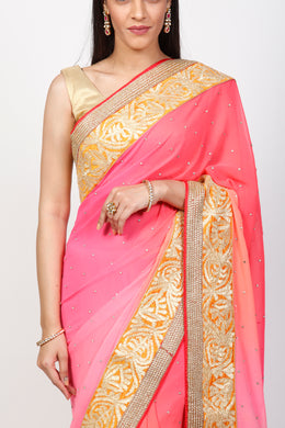 Georgette Saree with Gota, Stone work.