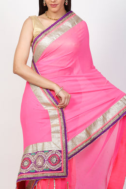 Chiffon, Net Saree with Kundan, Mukesh work.