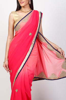 Georgette Saree with Kundan, Sequins, Zardozi work.