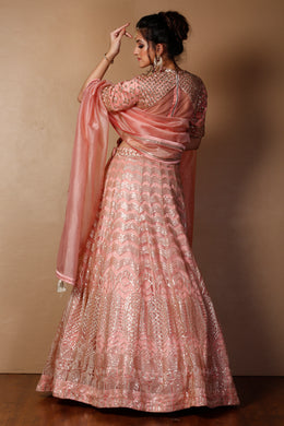 Net Lehenga in Peach color with Aari, Sequins, Thread work.