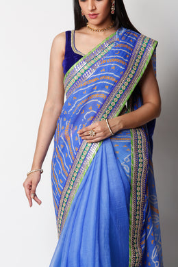 Kota Silk, chinon Bandhej Saree with Gota Patti, Pearl work.