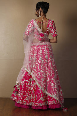 Raw silk Lehenga in Pink color with Pearl, Sequins, Zardozi work.