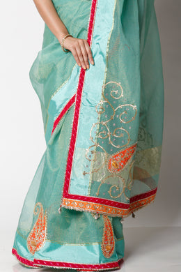 Kota tissue Saree with Gota Patti, Pearl work.