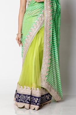 Net, Georgette Leheriya Saree with Gota, Pittan work.