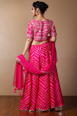 Tussar Lehenga in Pink color with Gota Patti, Thread, Zardozi work.