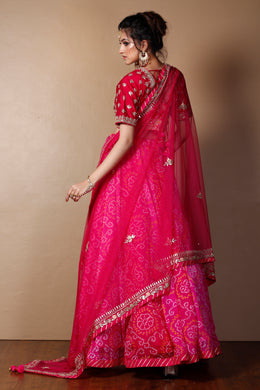 Bandhej Georgette Lehenga in Pink color with Gota Patti, Pearl, Thread work.