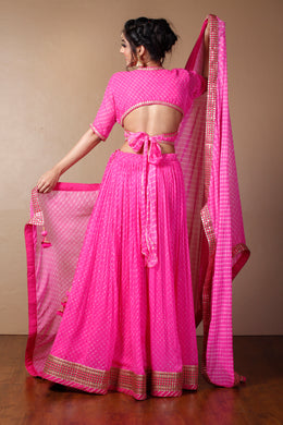 Mothra Georgette Lehenga in Pink color with Dori, Mirror, Sequins, Zari.
