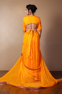 Mothra Georgette Lehenga in Yellow color with Dori, Mirror, Sequins, Zari.