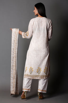 Block Printed Cotton Suit with Sequins work.