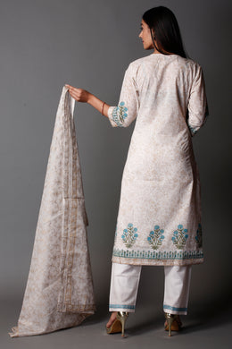 Printed Cotton Suit with Block Print, Sequins work.