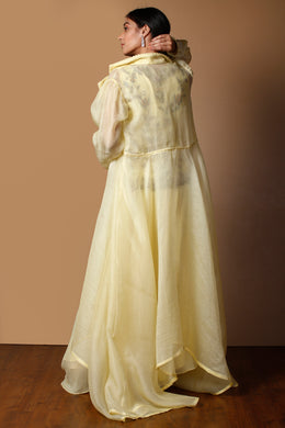 Silk Suit in Yellow color with Sequins, Thread, Zardozi work.