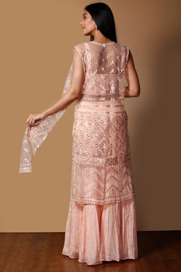 Raw silk Suit in Peach color with Mirror, Pearl, Sequins, Thread work.