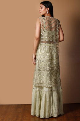 Raw silk Suit in LightGreen color with Mirror, Pearl, Sequins, Thread work.