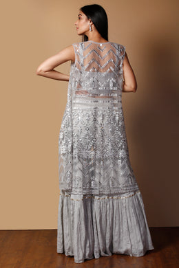 Raw silk Suit in Grey color with Mirror, Pearl, Sequins, Thread work.