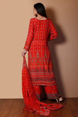 Cotton silk Suit in Orange color with Printed work.