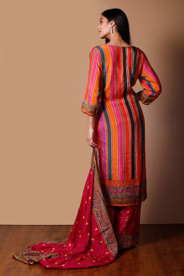 Cotton silk Suit in Orange color with Printed, Sequins work.