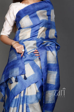 Tussar  Saree with Shibori work.