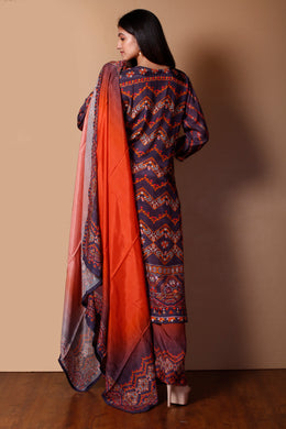 Cotton silk Suit in Dark Blue color with Printed work.