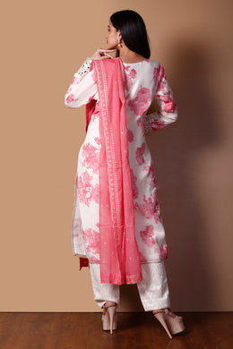 Chanderi Suit in Pink color with Mirror, Printed, Sequins, Stone, Thread, Zardozi work.