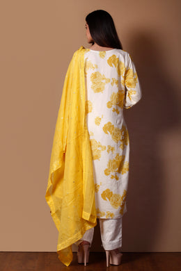 Chanderi Suit in Yellow color with Mirror, Printed, Sequins, Stone, Thread, Zardozi work.