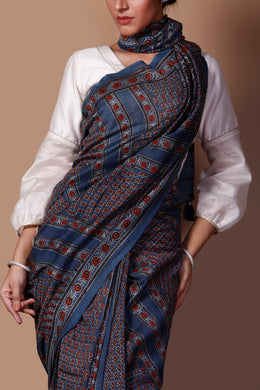 Chanderi Printed Saree in Dark Blue color with Dabu work.
