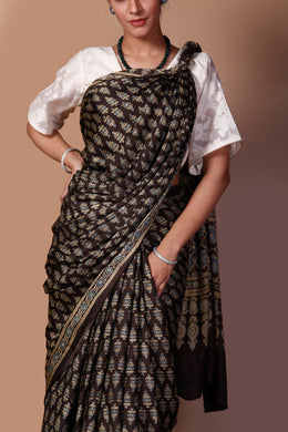 Printed Satin Saree in Brown color with Dabu, Mukesh work.