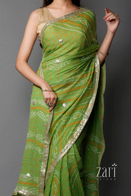 Printed Cotton Suit with Gota Patti work.