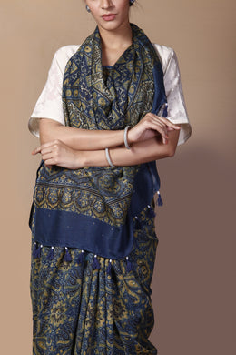 Printed Chanderi Saree in Dark Blue color with Dabu, Mukesh Work.