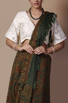 Chanderi Printed Saree in Dark Green color with Dabu work.