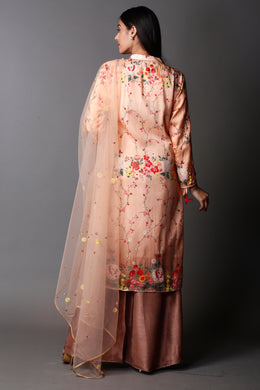 Printed Raw Silk Suit with Cutdana, Pearl, Sequins, Thread work.