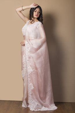 Organza Saree in Pink color with Pearl, Sequins, Stone, Thread work.