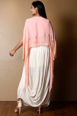 Georgette Suit in Peach color with Sequins, Zardozi work.