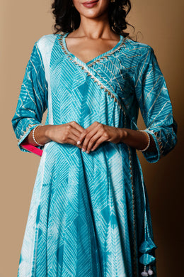Shibori Cotton Kurti in Light Green color with Gota work.